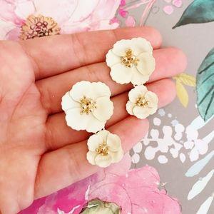 Flower Double Drop Statement Post Earrings